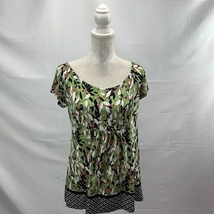 Pistachio Mixed Print Stretchy Babydoll Top